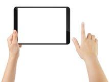 Mano adolescente femenina usando la PC de la tableta con la pantalla blanca Foto de archivo libre de regalías