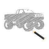 Mano-ahogue el bosquejo del carro de monstruo Ilustración del Vector
