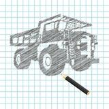 Mano-ahogue el bosquejo del carro del cargo Ilustración del Vector