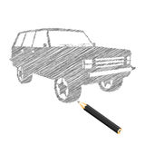 Mano-ahogue el bosquejo del coche Stock de ilustración