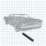 Mano-ahogue el bosquejo del coche Ilustración del Vector