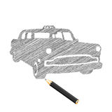 Mano-ahogue el bosquejo del coche del taxi Ilustración del Vector