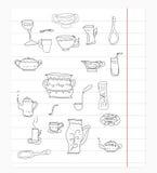 Mano aislada equipo del vector de la cocina dibujada Fotos de archivo