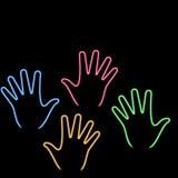 Mano al neon Fotografie Stock