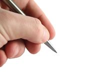 Mano & penna Fotografia Stock Libera da Diritti