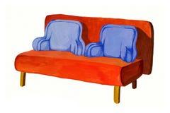 mano Anaranjado-azul del sofá dibujada Imagen de archivo