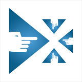 Mano azul de la flecha del triángulo Imagenes de archivo