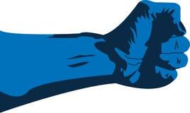 Mano azul Grapsing ilustración del vector