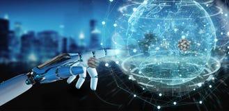 Mano bianca del cyborg facendo uso della rappresentazione dell'interfaccia 3D del pianeta Terra Fotografie Stock