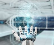 Mano bianca del cyborg facendo uso della rappresentazione dell'interfaccia 3D del pianeta Terra Fotografia Stock