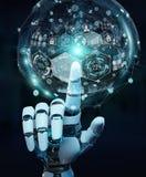 Mano bianca del cyborg facendo uso della rappresentazione digitale dell'interfaccia 3D del grafico Immagini Stock