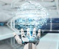 Mano bianca del robot facendo uso della rappresentazione digitale dell'interfaccia 3D del hud del globo Fotografie Stock