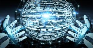 Mano bianca del robot facendo uso della rappresentazione digitale dell'interfaccia 3D del hud del globo Immagine Stock Libera da Diritti