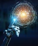 Mano bianca del robot facendo uso del hologra d'esplosione della sfera del triangolo digitale Immagini Stock Libere da Diritti