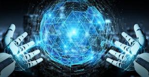 Mano bianca del robot facendo uso del hologra d'esplosione della sfera del triangolo digitale Immagine Stock