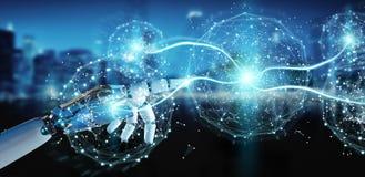 Mano bianca di umanoide facendo uso della rappresentazione digitale della rete globale 3D Immagine Stock