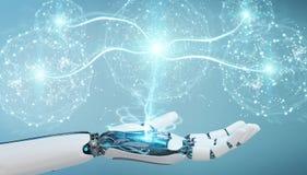 Mano bianca di umanoide facendo uso della rappresentazione digitale della rete globale 3D Fotografia Stock