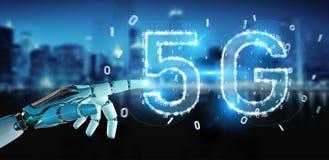 Mano blanca del cyborg usando la representación digital del holograma 3D de la red 5G libre illustration