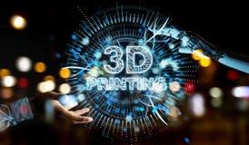Mano blanca del robot usando 3D que imprime la representación digital del holograma 3D stock de ilustración