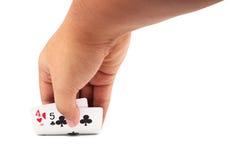 Mano carte d'apertura di una mazza dalla tavola Fotografie Stock