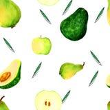 Mano che annega il modello degli avocado dell'acquerello illustrazione vettoriale