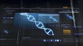 Mano che commuta schermo virtuale con la molecola del DNA video d archivio