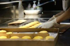 Mano che compone fine della crostata del formaggio Immagini Stock Libere da Diritti