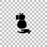 Mano che d? pianamente la borsa dei soldi ad un'altra icona della mano illustrazione di stock