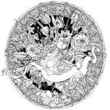 Mano che disegna cartiglio araldico Rebecca 36 Mandala del fiore Immagini Stock Libere da Diritti