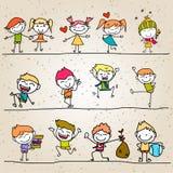 Mano che disegna i bambini felici Immagine Stock Libera da Diritti