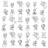 Mano che disegna i bambini felici del fumetto astratto Fotografie Stock Libere da Diritti