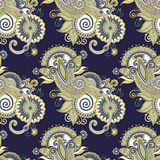Mano che disegna progettazione senza cuciture decorata di Paisley del fiore Immagine Stock