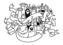 Mano che disegna progettazione sveglia del mostro Fotografia Stock Libera da Diritti