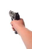 Mano che indica una pistola Immagini Stock Libere da Diritti