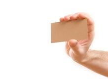Mano che mostra biglietto da visita in bianco Immagine Stock Libera da Diritti