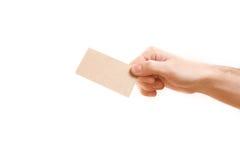 Mano che mostra biglietto da visita in bianco Fotografie Stock Libere da Diritti