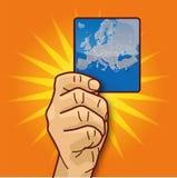 Mano che mostra una carta con Europa illustrazione di stock