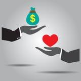 Mano che scambia l'icona del cuore e dei soldi Immagini Stock Libere da Diritti