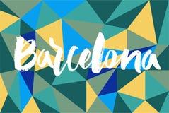 Mano che segna Barcellona con lettere Fotografie Stock