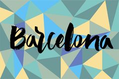 Mano che segna Barcellona con lettere Fotografia Stock Libera da Diritti