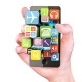 Mano che tiene i apps di Smartphone Immagine Stock Libera da Diritti