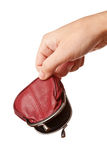 Mano che tiene il sacchetto vuoto dei soldi immagine stock libera da diritti