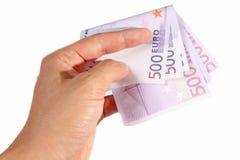 Mano che tiene le euro fatture Fotografie Stock Libere da Diritti