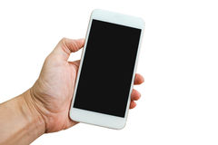 Mano che tiene Smartphone su fondo bianco fotografia stock
