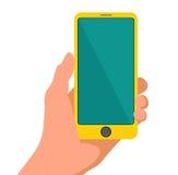 Mano che tiene telefono giallo astuto Schermo in bianco commovente Progettazione piana Illustrazione di vettore su fondo isolato  Immagini Stock Libere da Diritti