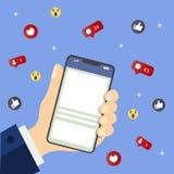 Mano che tiene telefono mobile con le icone Concetto della comunicazione nella rete Archivio immagazzinato nella versione AI10 EN illustrazione di stock