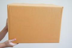 Mano che tiene una scatola Fotografie Stock