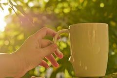 Mano che tiene una tazza con la maniglia rotta Fotografia Stock