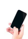 Mano che tiene uno smartphone Fotografia Stock