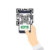 Mano che tiene uno smartphone con la ricerca di QR-codice Icona piana di stile Fotografie Stock Libere da Diritti
